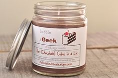 The (Chocolate) Cake is a Lie - Scented Soy Candle - 8 oz. jar - Portal. $9.25, via Etsy.