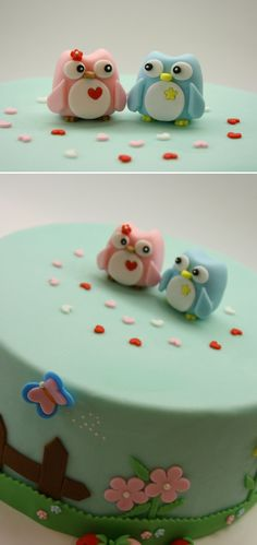 Such a cute cake. I love this cake! Beautiful Cakes, Amazing Cakes, Fondant Cakes, Cupcake Cakes, Owl Cake Toppers, Owl Cakes, Biscuit, Cute Cakes, Sweet Cakes