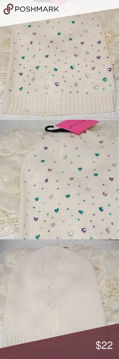 Betsey Johnson little gems beanie Beautiful colored hearts and dots gems 😍 Length 11.5 Bundle 2 or more items and save 10% 🤗 Betsey Johnson Accessories Hats