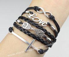 Silvery infinity love owls cross bracelet,black wax rope woven rope jewelry gift