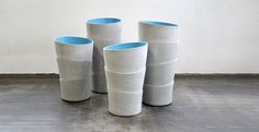 These are simple but interesting planters designed by Rainer Mutsch for Eternit. PALMA is a handmade planter, each ring of fiber cement is hand formed at its Concrete Art, Concrete Projects, Concrete Planters, Planter Pots, Tree Stem, Vintage Tiki, Modern Planters, Container Plants, Flower Containers
