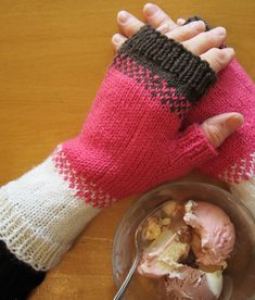 Free Knitting Pattern for Neapolitan Mitts - Fingerless mitts in 3 colors with stranded colorwork for transitions between colors. 3 sizes. Designed by Tracy Hill