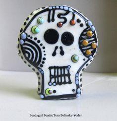 Sugar Skull 5 Handmade Lampwork Glass Bead by beadygirlbeads, $52.00