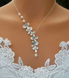 Orchids Necklace - Freshwater Pearls Necklace - White Gold Orchids Cascade Wedding, Bridal Jewelry Bridesmaids Gift. $39.00, via Etsy.