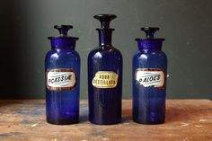 Antique Cobalt Blue Glass Apothecary Bottles