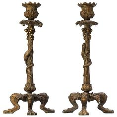 19th c. Set of Delafontaine Candlesticks | From a unique collection of antique and modern candle holders at https://www.1stdibs.com/furniture/decorative-objects/candle-holders/