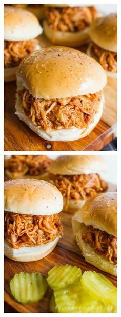 It's Amy from My Name Is Snickerdoodle again and I'm happy to be sharing these super easy BBQ Chicken Sliders. The best part is they take 15 minutes to make using the Instant Pot! I'm always looking for super easy meals to make for my f Easy Bbq Chicken, Chicken Sliders, Chicken Recipes, Chicken Legs, Chicken Breasts, Bbq Chicken Sandwich, Chicken Tostadas, Cod Recipes, Chicken Wraps