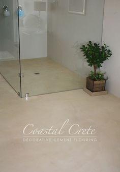 Coastal Crete Flooring | Cream Colour Screed Flooring | Smooth | Seamless Home Projects, Screed Floors, Beach House Interior, House Flooring, Cement Floor, Beach House Bathroom, Flooring, Stained Concrete, Bathroom Inspiration