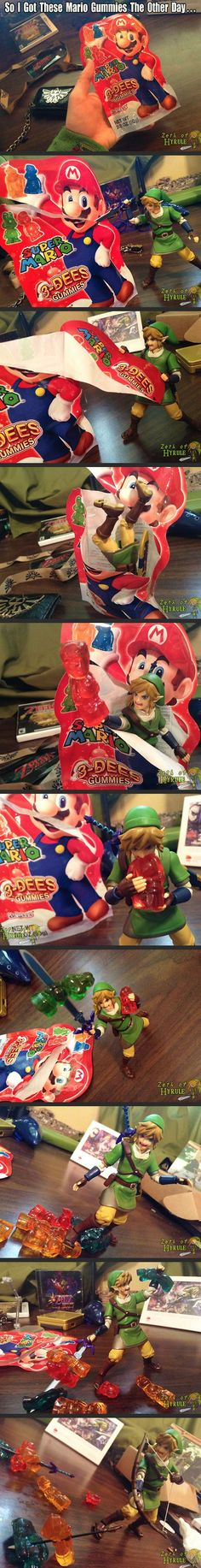 Link attacking Mario gummies... this is too awesome not to repin.