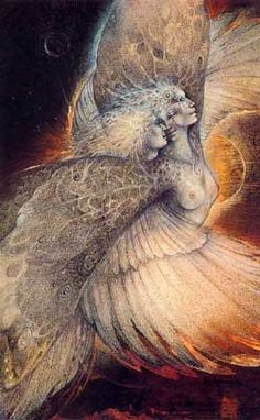 """""""Goddess thealogy is never static but always in flux, always being re-thought, and, importantly, performed and embodied. The emphasis on continual re-thinking and re-enacting Goddess, especially through ritual but also in everyday life."""" Giselle Vincett- Art - Susan Seddon Boulet - Goddess « Psyche » alias « Journey Home » - 1991"""