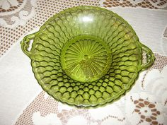 Vintage Green Glass Serving dish by VaccarosVintageFinds on Etsy