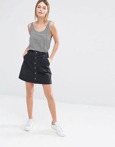 Image 1 ofNew Look A-Line Button Through Denim Skirt