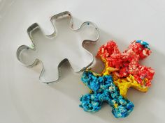 Autism rice crispy puzzle pieces. Another great awareness and fundraising idea for April.