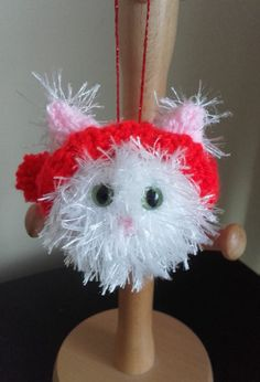 Cat Christmas tree decoration White hand knitted cat by Stewscraft