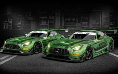 Mercedes AMG GT3, 2017, tuning Mercedes, green Mercedes, racing cars