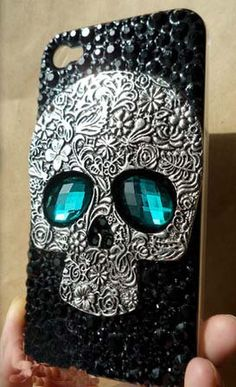 punk Unique spike iPhone 4 Cases rainstone Crystals Skull iPhone 5 Cases Studded iPhone 4 brass skull skeleton Cases,  iPhone 4S Case9 on Etsy, $19.99