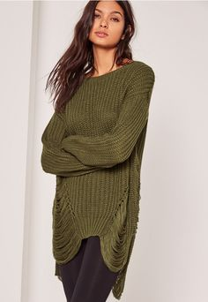 Opt for this khaki distressed jumper with ripped detailing to each side.