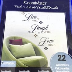 Room Mates Peel & Stick Wall Decals Live Well Laugh Often Love Much 22 Removable #RoomMates #Modern