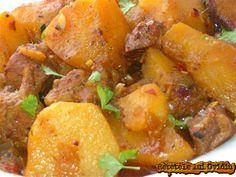 Potato stew with pork papricas de cartofi cu carne de porc