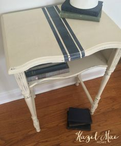 Vintage Telephone Table updated with Annie Sloan Old Ochre and Graphite Grainsack Stripe {by Hazel Mae Home}