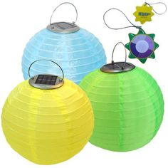 """HQRP Set of 3 Nylon Solar Powered Lanterns / Lights 10"""" - Blue + Green + Yellow - Chinese Party Yard / Patio Decor + UV Tester by HQRP. $29.91. HQRP® Set of 3 Solar Power Lantern Light plus HQRP® UV Chain / UV Radiation Health Tester;. Switch: light control; Material: nylon cloth; Size: 10inch diameter;. Solar panel: 0.2W, 2V, 100mA; Battery: 1.2V, 600mah, Ni-MH; LED: 3pcs*0.06W;. Working time: 12 hrs; Charging time: 8 hrs of sunlight;. 100 Days Warranty.. The Sol..."""