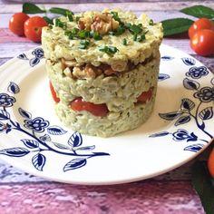 Timbal de Mote, mayonesa albahaca, tomate y nuez Krispie Treats, Rice Krispies, Side Dishes, Oatmeal, Appetizers, Breakfast, Desserts, Food, Healthy Appetizers