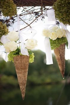 Outdoor Wedding Decor - A different twist on the hanging cones.