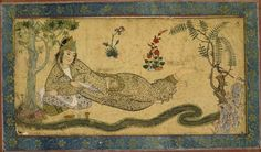 """timur-i-lang:    Qazvin school, Iran, ca. 1590-1600  """"Bilqis, the Queen of Sheba, reclines besides a meandering stream while holding a love letter that the hoopoe, perched in a bush at her feet, will deliver to her beloved, King Solomon."""""""