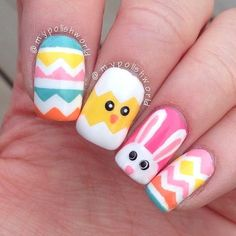 Here is Easter Nail Art Designs Collection for you. Easter Nail Art Designs 46 easter nail art designs and ideas for Ea. Nail Art Designs, Manicure Nail Designs, Easter Nail Designs, Easter Nail Art, Nail Designs Spring, Nail Manicure, My Nails, Nails Design, Manicure Ideas