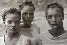 "dinnerwithannawintour: "" Esther Canadas, Melanie Thierry, Rachel Roberts photographed by Peter Lindbergh, Vogue Italia 1997 "" Peter Lindbergh, Editorial Photography, Fashion Photography, Beach Photography, Rachel Roberts, Art Magique, Viviane Sassen, Desert Fashion, Black White Art"