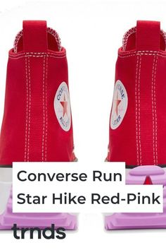 With the onset of spring, Converse takes the iconic Run Star Hike VLTG and gives it two seasonal makeovers. Here is a closer look at the new sneaker designs Red And Teal, Dark Blue, Air Max 95, Nike Air Max, New Sneakers, Pink Heels, Vans Old Skool, Fashion Games, Hue