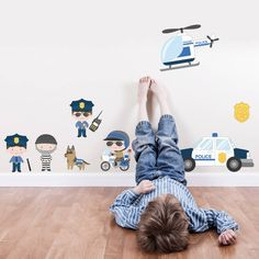 I've just found Police Scene Cops And Robbers Fabric Wall Stickers. With our Police scene Wall Sticker set your little ones imagination will run free, let them peel and stick their own wall sticker theme.. £18.00