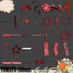 A Tomato Color Series Ribbons- $2.99 : Caroline B., My Magic World of Digital Design