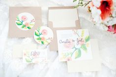 Watercolor floral wedding #invitations | Kristina Curtis Photography | See more on http://burnettsboards.com/2014/01/mother-daughter-inspiration-shoot/