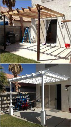 Simple Pergola Attached to House 1  #pergola #pergolaideas #pergoladesign #pergolaplan #pergolas #garden #gardendesign #gardenideas #patio #outdoor #outdoorliving #patiodesigns #outdoorspace #patiolayout