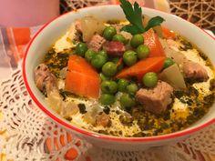 Tárkonyos sertésragu leves pirított gombával Soup Recipes, Grains, Rice, Beef, Soups, Food, Meat, Chowders, Essen