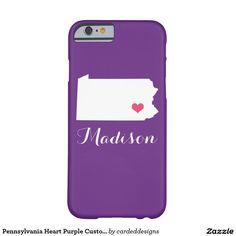Pennsylvania Heart Purple Custom Monogram Barely There iPhone 6 Case