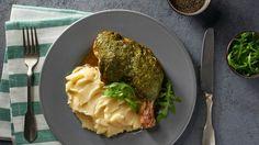 Pečené kuře s rukolovým pestem a bramborovým pyré