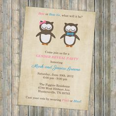 Gender Reveal Party, Gender Reveal Baby Shower with Owls Digital, Printable file. $13.00, via Etsy.
