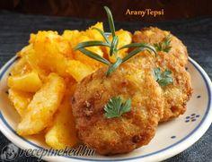 Krumplis csirketallérok Ital Food, Starters, Entrees, Hamburger, Curry, Chicken, Ethnic Recipes, Dios, Curries