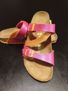 cc0cef074daf Birkenstock Women Sandals Size Euro 39 U.S 8.5 Orange Pink Leather Foot bed   fashion