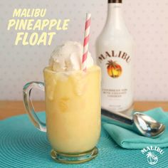 Malibu Pineapple Float! INGREDIENTS 3 parts Malibu Rum 4 cups Frozen Pineapple 1 scoop Coconut Ice Cream INSTRUCTIONS Blend the Malibu Rum and frozen pineapple in a blender until a slushy consistency is achieved. (Do not add water as you will lose the fun frozen feel of the drink!)Pour into a frosted mug, and top with a scoop of coconut ice cream. Easy and delicious. Enjoy!