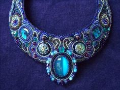 """Bead Embroidered Collar, Bead Embroidered Necklace by CircesHouse on Etsy - """"Salome"""""""