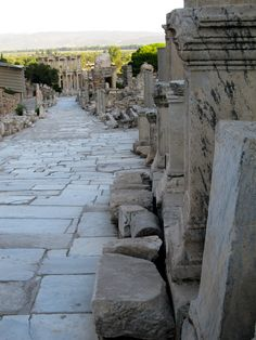 """Entering Ephesus (Kusadasi). Our tour guide would not let us off the bus until we all pronounced it correctly""""KOO-sha-dah-say"""" lol"""