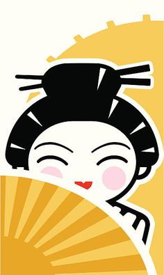 A vector illustrated iconic geisha character. Geisha Art, Restaurant Branding, Free Prints, Simple Shapes, Free Vector Art, Feature Film, Photo Illustration, Royalty Free Images, Assessment