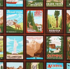 Travel Fabric by Robert Kaufman Collection Explore America Design: Anderson Design Group Import from USA  brown cotton fabric with posters of Grand Canyon, Yellowstone, Yosemite etc. very high quality fabric, typical great Robert Kaufman quality radiant colours, many details and beautiful print  100% cotton smooth cotton fabric size of the posters: 8.5cm (3.3) pattern repeat: 60.5cm (23.8) fabric width: 112cm (44) fabric length (per unit ordered): 50cm (0.54 yards) weight: 146g per m²  care…