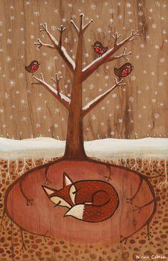 Foxy in the winter - Nicola Colton http://www.nicolacolton.com/152339/1741892/illustration/winter-exhibition