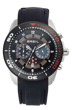 Love the Breil 'Edge' Chronograph Silicone Strap Watch, 47mm on Wantering.