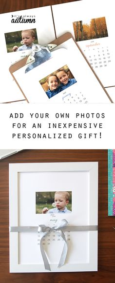 Awesome DIY gift idea! Free printable 2017 photo calendar makes an easy, cheap, and very cool handmade Christmas or holiday gift for anyone on your list. Great gift idea for grandparents!