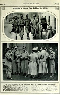 """WWI, Jan 1917: """"The first contingent of Portuguese Army in France, Officers fraternising"""" - The Illustrated War News, via archive.org"""